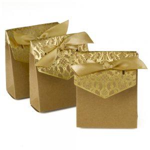 Gold & Kraft Vintage Favor Box - 25 count, Brown