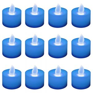 Battery Operated LED Tea Lights - Blue (12 Count), White