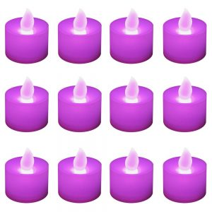 Battery Operated LED Tea Lights - Purple (12 Count), White