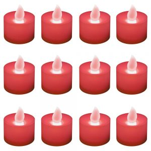 Battery Operated LED Tea Lights - Red (12 Count)