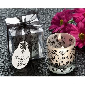 Frosted Elegance Black and White Votive Tea Light Candle Holder (Pack of 8)