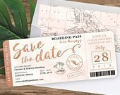 Destination Wedding Boarding Pass Save the Date Invitation in Rose Gold and Blush Watercolor by Luckyladypaper see item details to order