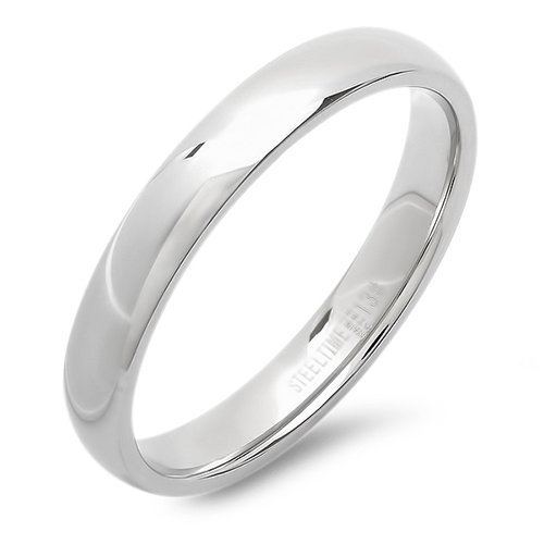 Stainless Steel 4mm Band Ring 5, Silver