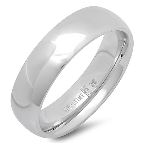 Stainless Steel 6mm Classic Band Ring 6, Silver