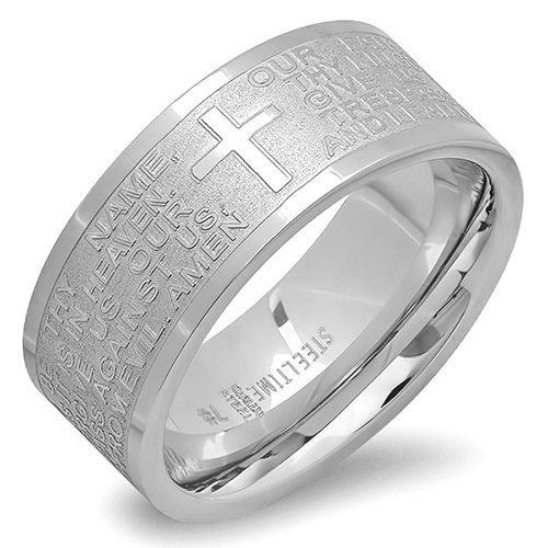 Stainless Steel Our Father Prayer Band Ring 6, Silver