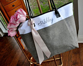 Bridesmaid Tote (Qty. 1). Personalized Bridesmaid Gift Bags. Custom Name Bag. Zipper Tote. GRTBlH.