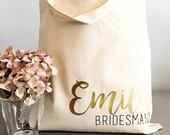 Bridesmaid tote bag for Bridal party gifts. Canvas Tote Bag with Name and Title for Bridesmaid gift, Maid of Honor, Matron of Honor gift