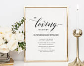 In Loving Memory Sign Template, Memorial Table Sign, Wedding Memorial Sign, Forever In Our Hearts Sign, Printable Memory Sign KPC04306