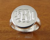 Monogram Ring Initial Ring Personalized Ring Engraved RingBridesmaids RingWomens Gift Monogrammed Ring Sterling Silver