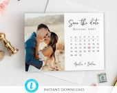 Photo Save the Date Template, Calender Save Our Date Invite, Wedding Date Announcement Card, Printable save the date Card Templett