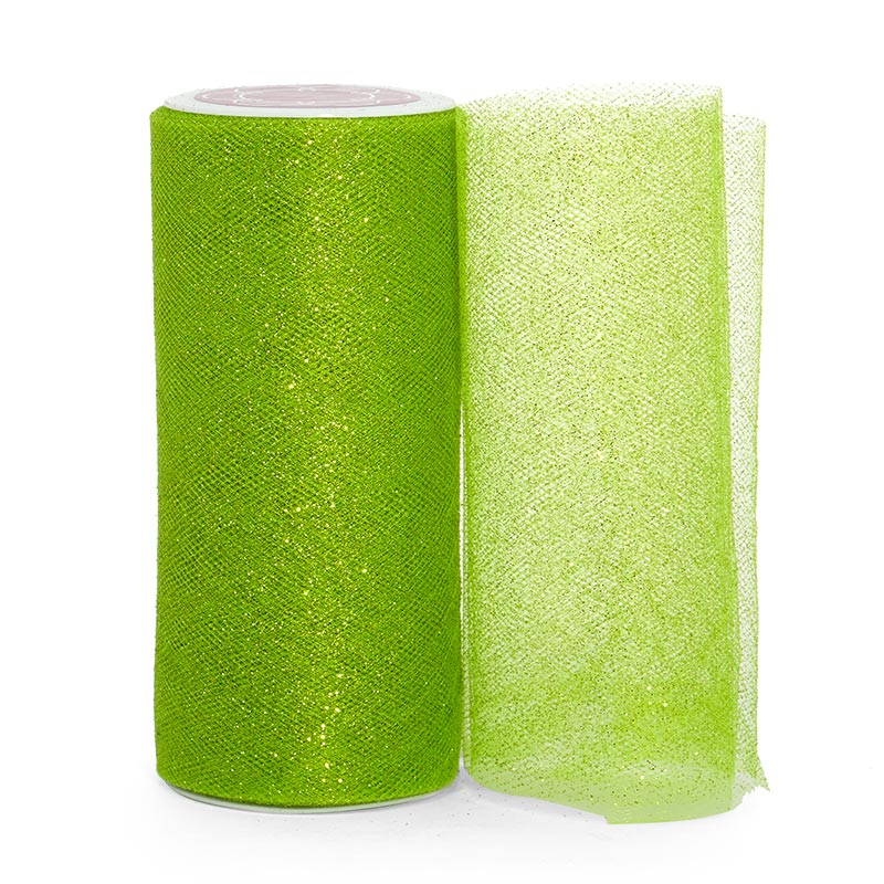 """Sparkle Apple Green Sparkling Tulle Roll - 6"""" X 25yd - Fabric - Width: 6"""" by Paper Mart"""