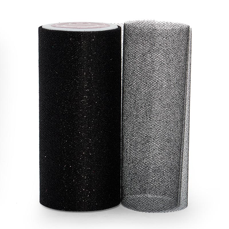 """Sparkle Black Sparkling Tulle Roll - 6"""" X 25yd - Fabric - Width: 6"""" by Paper Mart"""