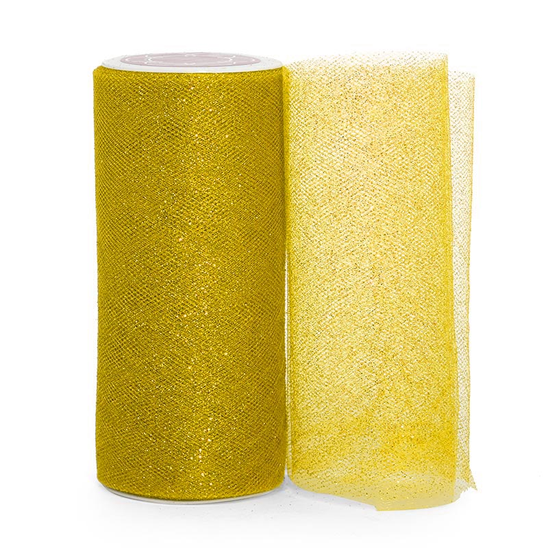 """Sparkle Gold Sparkling Tulle Roll - 6"""" X 25yd - Fabric - Width: 6"""" by Paper Mart"""