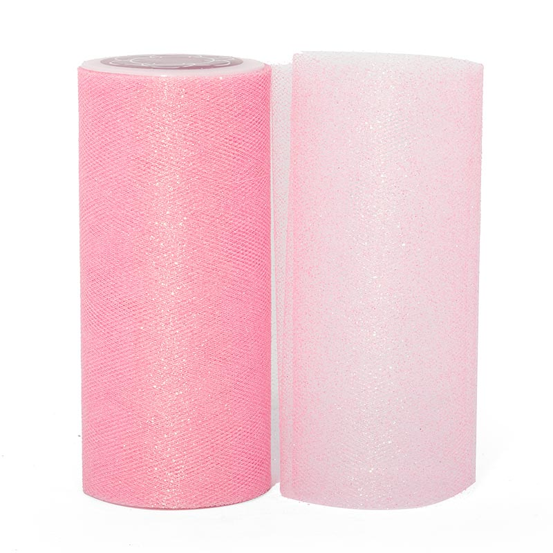 """Sparkle Pink Sparkling Tulle Roll - 6"""" X 25yd - Fabric - Width: 6"""" by Paper Mart"""
