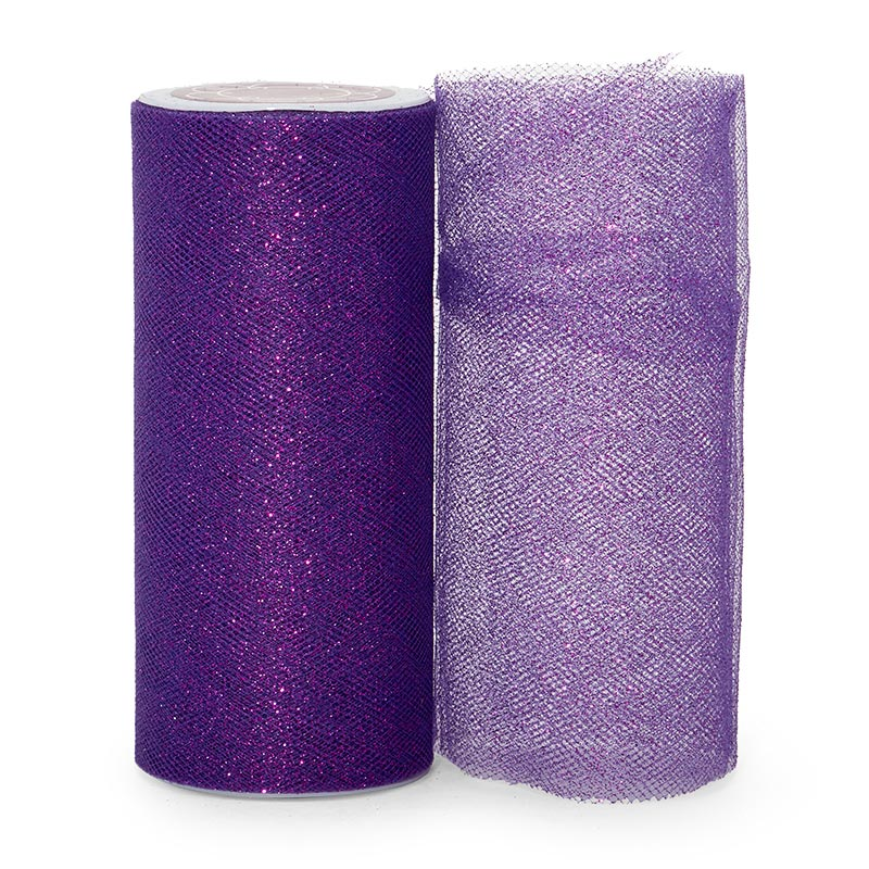 """Sparkle Purple Sparkling Tulle Roll - 6"""" X 25yd - Fabric - Width: 6"""" by Paper Mart"""