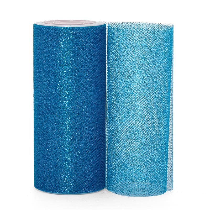 """Sparkle Turquoise Sparkling Tulle Roll - 6"""" X 25yd - Fabric - Width: 6"""" by Paper Mart"""