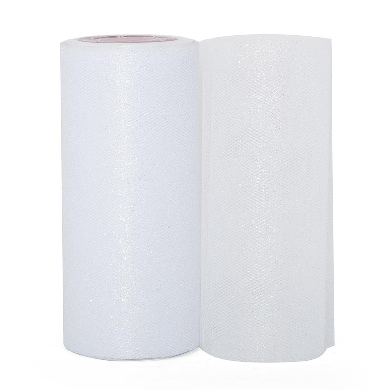 """Sparkle White Sparkling Tulle Roll - 6"""" X 25yd - Fabric - Width: 6"""" by Paper Mart"""