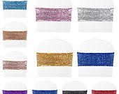 10 25 50 Sparkle Sequin Spandex Stretch Chair Sashes Cover Band Wedding Banquet Engagement Birthday Anniversary Party Decor