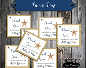 100 Wedding Favor Tags Beach Starfish Printed Personalized Wedding Favors