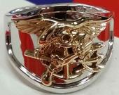 14K Two Tone gold Navy SEAL ring made in the USA by US Veteran owned custom jewelry business.