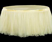 14ft banquet Tulle Tutu Table Skirt Wedding Baby Shower 1st Birthday party supplies bridal quinceaera maize light pastel yellow