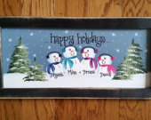 15 Personalized Hand painted Snowman Family Sign FRAMED Gift for Mom, Dad, Grandma, Grandpa, Mother in law, Sister in law, aunt brother