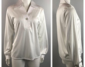 1970s Blouse / 70s Disco White Satin Look Shirt Top Long Sleeves Low Cut / Womens Medium