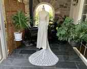 1970s Vintage High Neck Lace and Satin Wedding Dress Apricot Accents Removable Lace Train Headpiece and Veil, Seventies Wedding Gown