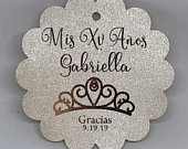 2 1/4 REAL FOIL Personalized Shimmer Silver Champagne Gold Foil Tags Mis XV Anos Quince Favor Tags Gracias Tags Quinceanera Tiara Princess