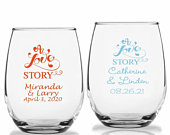 24 A Love Story Personalized Stemless Wine Glasses, LOVE Theme Wine Glass, Custom Wedding Party Favors