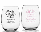 24 I Love You To The Moon And Back, Personalized Stemless Wine Glasses, LOVE Theme Wedding Wine Glass, Custom Wedding Party Favors
