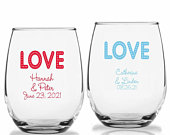 24 LOVE Personalized Stemless Wine Glasses, LOVE Theme Wine Glass, Custom Wedding Party Favors