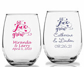 24 Let LOVE Grow Personalized Stemless Wine Glasses, LOVE Theme Wine Glass, Custom Wedding Party Favors