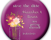 24 Save the Date Favors Save the Date Buttons Save the Date Magnets Save the Date Bottle Openers Fuchsia Wedding Mason Jar Wedding