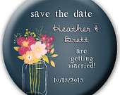 24 Save the Date Favors Save the Date Buttons Save the Date Magnets Save the Date Bottle Openers Teal Wedding Mason Jar Wedding