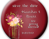 24 Save the Date Favors Save the Date Buttons Save the Date Magnets Save the Date Bottle Openers dark Red Wedding Mason Jar Wedding