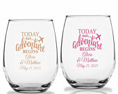 24 Today Our Adventure Begins Wine Glasses, Personalized Stemless Wine Glasses, Destination Wedding Party Favors