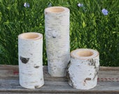 3 WHITE BIRCH Wood Candle Holders Simple Natural Wedding Decor The Flower Patch Candle Holder