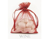 30 Wine Organza Bags, 6 x 9 Inch Sheer Fabric Favor Bags, Burgundy Gift Bags