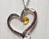 3PC Silver and Yellow Rhinestone Hollow Heart Necklace Set