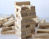 5th Anniversary Wood Gift Personalized Tumbling Tower Set Custom Stacking Game