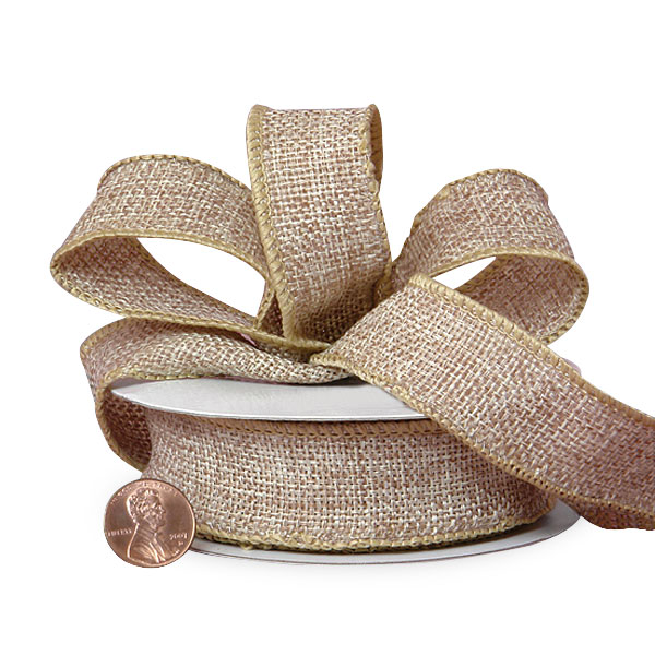"7/8"" X 10 Yards Jute Colored Woven Burlap Ribbon by Ribbons.com"