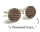A Thousand Years // Lyrics Cufflinks Tie Bar // Wood Anniversary gift for Him // Gift for Groom //5 year anniversary gifts // Wedding gift