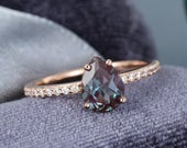 Alexandrite engagement ring vintage Rose Gold engagement ring pear shape cut Moissanite wedding women Bridal Anniversary gift for her