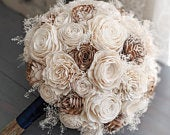 All Ivory / Raw Sola Wood Flower Bouquet with Babys Breath Rustic Bridal Bridesmaid Toss