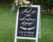 And so the adventure begins Personalized Wedding Sign Decal DIY Wedding Decor Custom Wedding Welcome Chalkboard Sign Decal