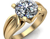 Angelique Round Moissanite Thick Split Shank 4 Prong Engagement Ring