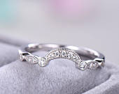Antique Wedding Band 14k White Gold Sterling Silver CZ Curved U Shaped Engagement ring Unique Bridal Promise Art Deco Milgrain Half Eternity