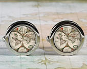 Antique World cuff links, World map cufflinks wedding gift anniversary gift for groom groomsmen gift for best man Dad Fathers Day gift
