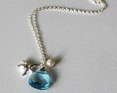 Aquamarine crystal necklace, Starfish necklace, Ocean mother daughter, Bridesmaid necklace, Light blue crystal necklace, Beach wedding